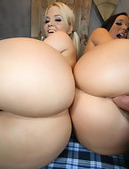 Jayden James and Alexis Texas. These horny busty, big bore sluts ride the cock